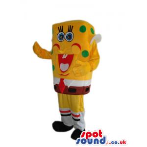 Sponge Bob Square Pants Cartoon Plush Mascot With Green Dots -