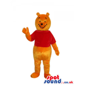 Winnie The Pooh Classic Cartoon Bear Mascot With A Red T-Shirt