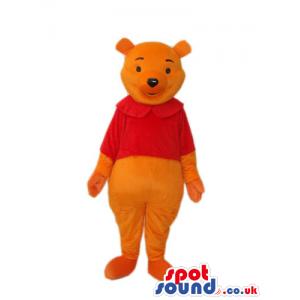Winnie The Pooh Cartoon Bear Mascot With A Round Collar T-Shirt