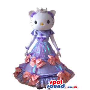 Kitty Cat Cartoon Mascot With A Long Purple Dress And Crown -