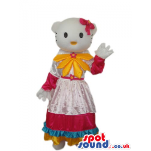 Kitty Cat Cartoon Mascot With A Countryside Dress And Yellow