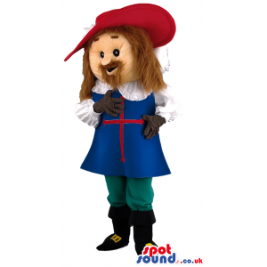 Tall musketeer macot with red hat,blue robe with red cross. -