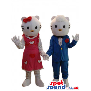 Kitty Cat Character Couple Mascots Wearing Blue And Red Clothes