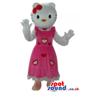 Kitty White Cat Popular Character Mascot Wearing A Hearts Dress
