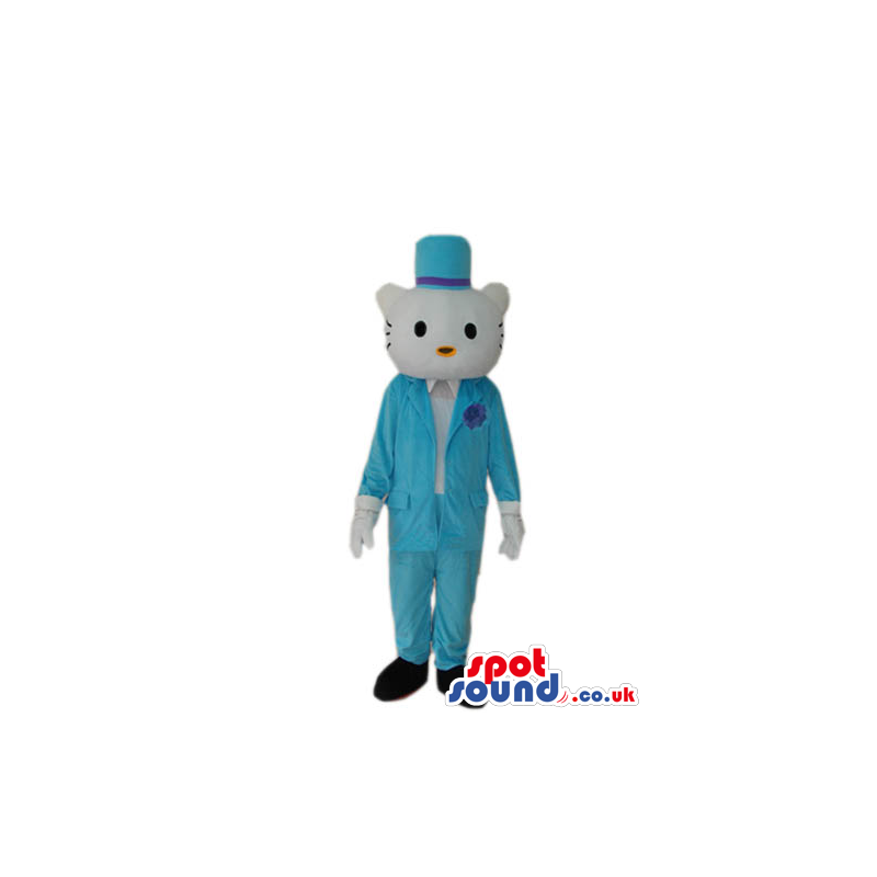 Kitty Cat Boy Cartoon Mascot With Elegant Blue Clothes - Custom