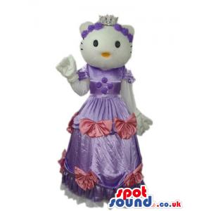 Kitty White Cat Popular Character Mascot Wearing A Purple Dress