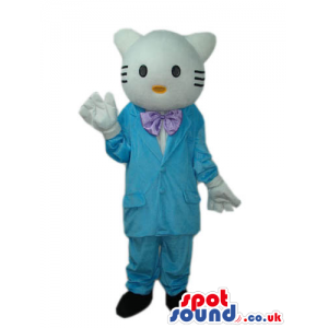 Kitty Cat Boy Cartoon Mascot With Blue Clothes And A Bow Tie -