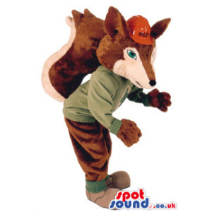 This Is A Brown And Beige Fox Plush Mascot Wearing A Red Helmet