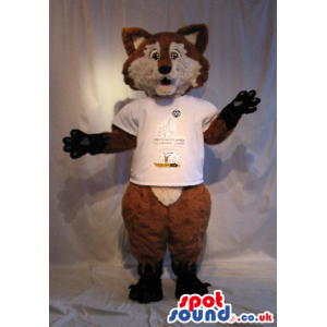 Brown And Beige Fox Plush Mascot Wearing A White T-Shirt -