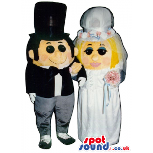 Just Married Couple Mascots With Bride And Groom Garments -