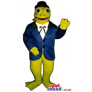 Green Frog Plush Mascot Wearing A Jacket And A Hat - Custom