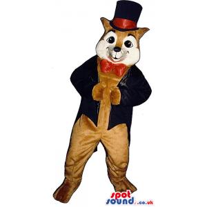 Fox Plush Mascot Wearing Elegant Garments With A Top Hat -
