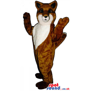 Customizable Brown Fox Plush Mascot With A White Face And Belly