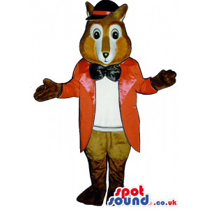 Fox Plush Mascot Wearing Elegant Long Red Jacket And A Bow Tie
