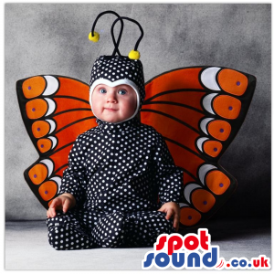 Cute Black And Orange Butterfly Baby Size Funny Costume -