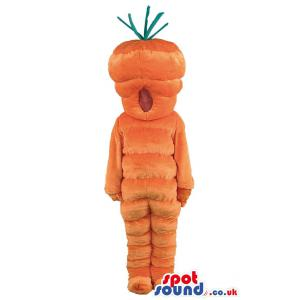 Orange colour cute carrot mascot with his mouth open - Custom