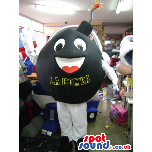 Ignited round black bomb mascot with white legs and arms -