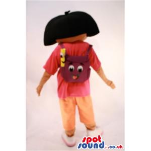 Dark Dora The Explorer Cartoon Character Mascot With Backpack -