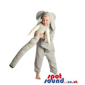 Grey Elephant Children Size Costume With Long Trunk - Custom