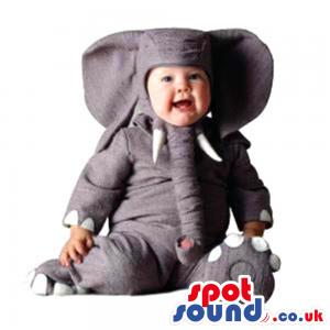 Cute All Grey Elephant Baby Size Funny Plush Costume - Custom