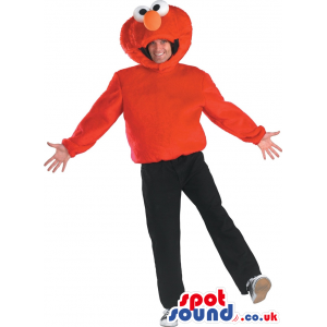 Red Elmo Character Funny Plush Adult Size Costume - Custom