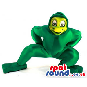 Green Shinny Material Frog Mascot With A Yellow Face - Custom