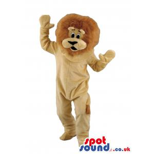 Lion mascot dancing throwing his hands up without any clothes
