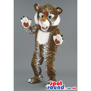 Smiling tiger mascot with white underbelly and pointy claws -