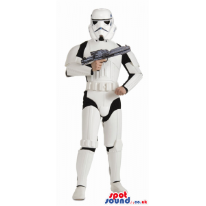 White Storm Trooper Wars Adult Size Costume With A Weapon -