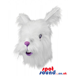 Hairy Rabbit Bunny Mask Or Head Plush Costume With A Purple