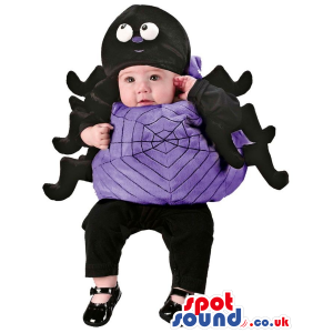 Cute Purple And Black Spider Halloween Baby Size Costume -