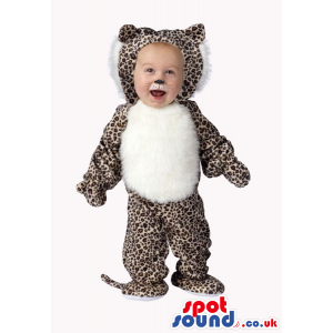 Cute Leopard Or Panther Baby Size Costume With White Belly -