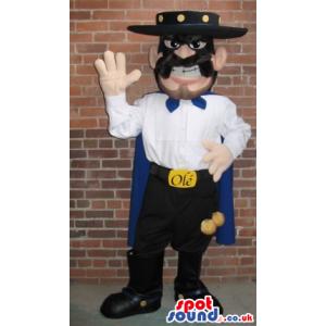 Angry Human Mascot Wearing El Zorro Garments And A Mask -