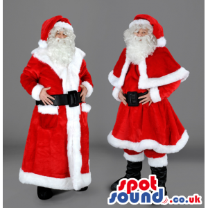 Two santa claus mascot in red and white different outfit -