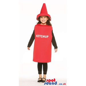 Very Cute Red Ketchup Bottle Children Size Costume - Custom