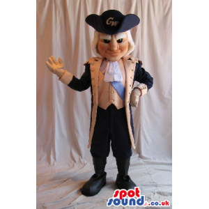 French Revolution Character Mascot With Brown And Black Clothes