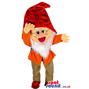 Snow white dwarf mascot with red hat and white beard - Custom