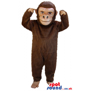 Brown monkey mascot with smiling face and brown eyes - Custom