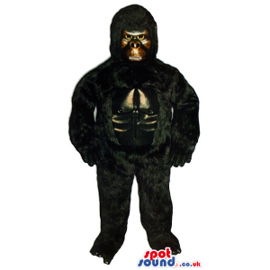 Strong Black Hairy Gorilla Plush Mascot With A Golden Face -