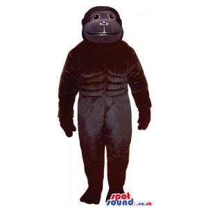Customizable All Black Chimpanzee Plush Mascot With Red Eyes -