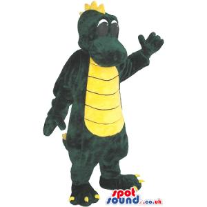 Cartoon Green Dragon Plush Mascot With A Yellow Belly - Custom