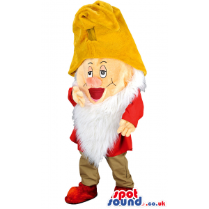 Snow white dwarf mascot with yellow hat and white beard -