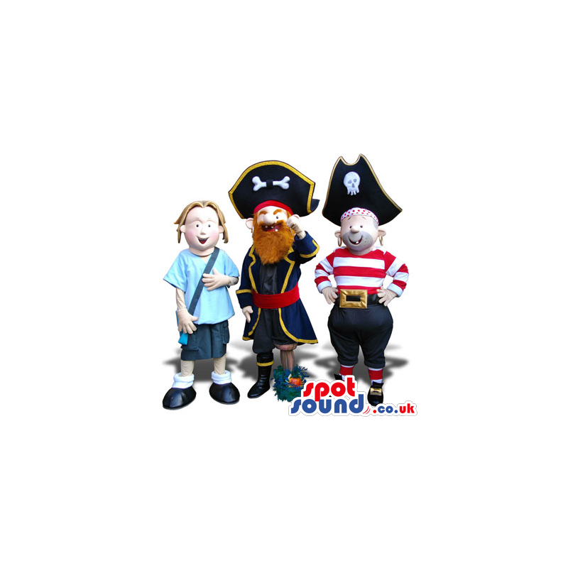 Three Human Plush Mascots: A Girl And Two Different Pirates -