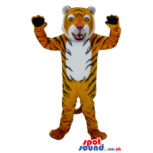 Standing orange tiger mascot with black stripes and black paws