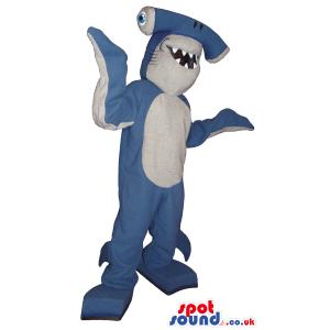 Funny Blue And White Hammerhead Shark With Sharp Teeth - Custom