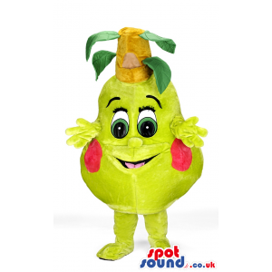 Blushing pear mascot with hands and feet and leaves on top -