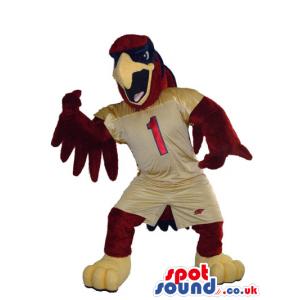 Furious Brown Eagle Bird Plush Mascot Wearing Brown Clothes -