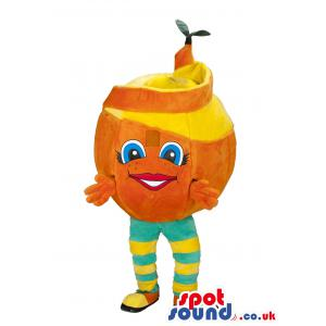 Smily orange mascot in a blue and yellow strip pants - Custom
