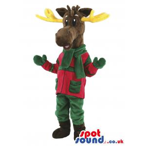 Reindeer in red and green trouser and shirt with a green