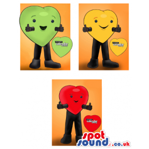Three Heart Mascot Drawings In Red, Green And Yellow With Logo